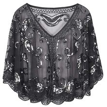 Women's 1920s Shawl Beaded Sequin Deco Evening Cape Bolero Flapper Cover up summer womens scarf Polyester Sequined(China)