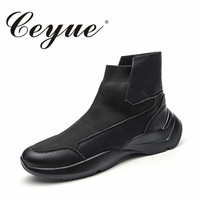 Ceyue Autumn Men Running Shoes New Breathable Outdoor High-Top Flat Sports Shoes For Men Slip-On Fly Sock Boots Men Sneakers