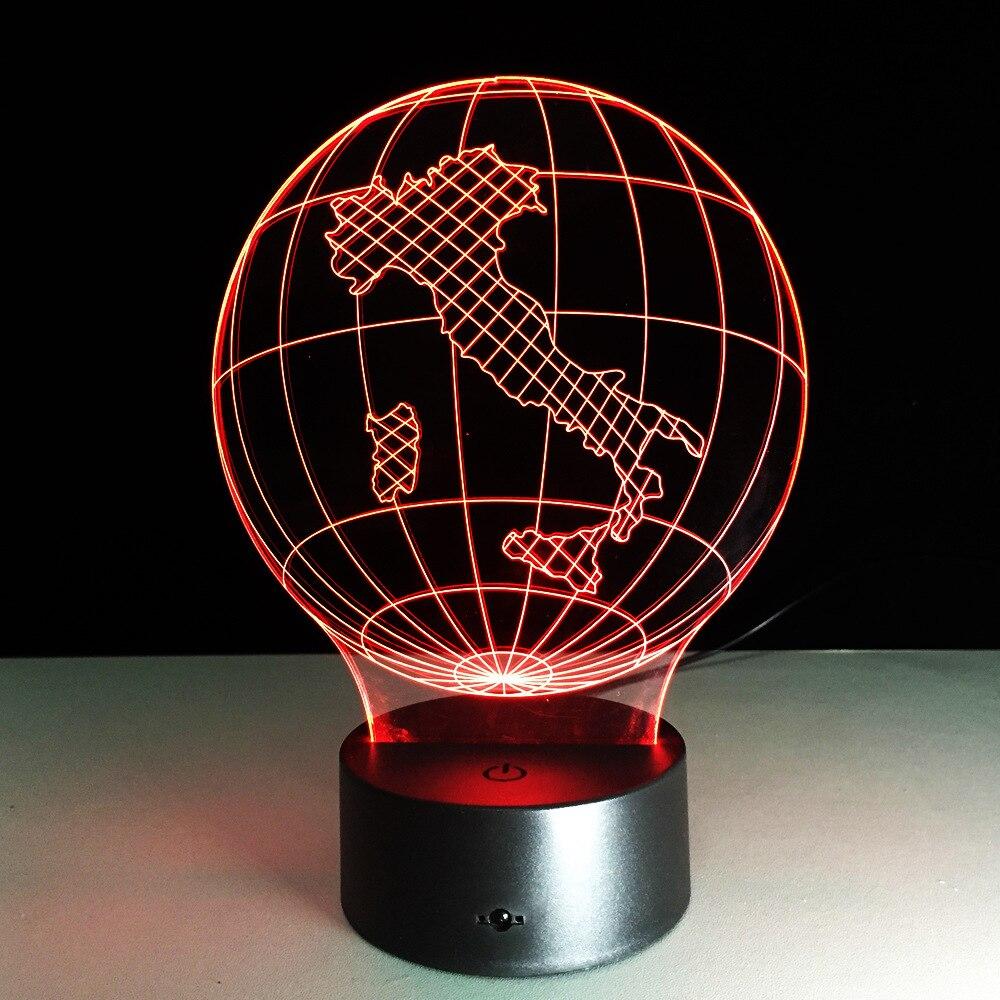 Italy Earth Map Light 3D Visual LED Lamp 7 Color Mushroom USB Bedroom Small Desk Lamp