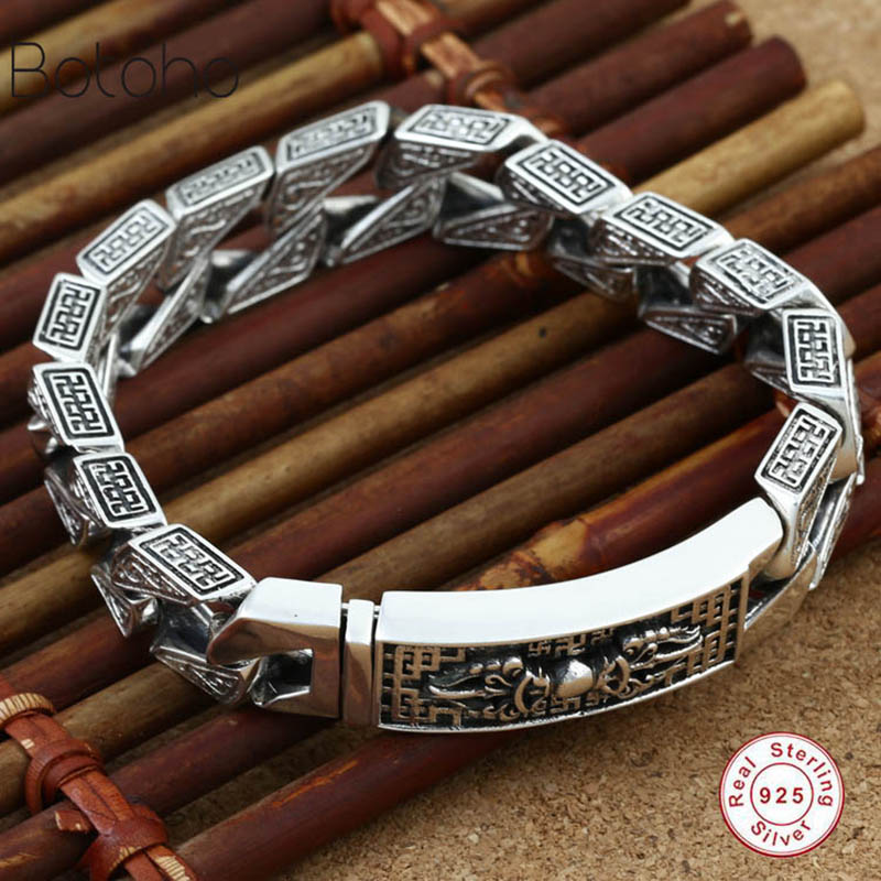 Pure 925 sterling silver men's bracelet retro punk rock hand woven personality bracelet Thai silver fashion jewelry best gift