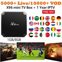 X96 mini TV Box with 1 year IPTV subscription for Arabic French Europe USA 5000+ Live 10000+ VOD Netflix 4K Android IPTV Box