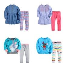 Nouveau 2017 Marque Top Qualité 100% Coton Bébé Filles Vêtements enfant Enfants Vêtements Ensemble À Manches Longues Vêtements Ensembles Bébé Filles Outwear