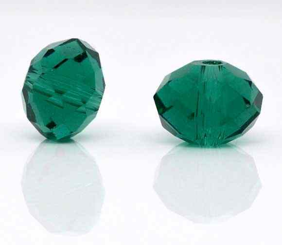"Glass Loose Beads Flat Round Malachite green Faceted Transparent About 8mm( 3/8"") Dia, Hole: Approx 1mm, 15 PCs new"