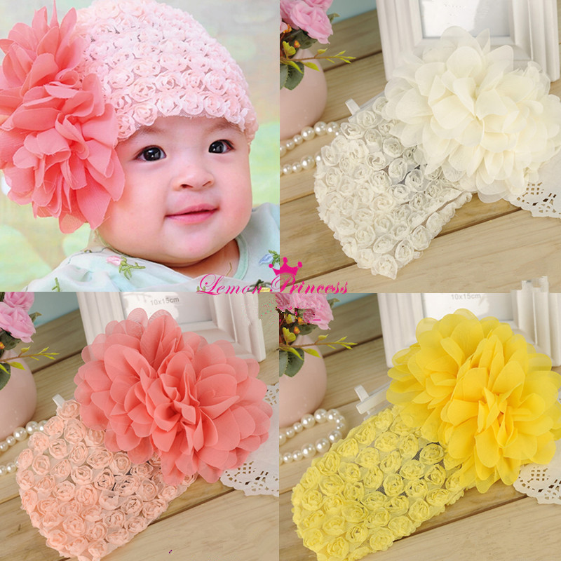 Kids Toddler Big Flower Baby Headbands Lace Headdress Girl Hair Band Accessories