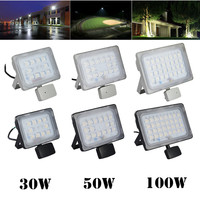 2Pcs LED Sensor Floodlight 30W 50W 100W 220V Induction Flood Light LED Lamp For Billboard Building