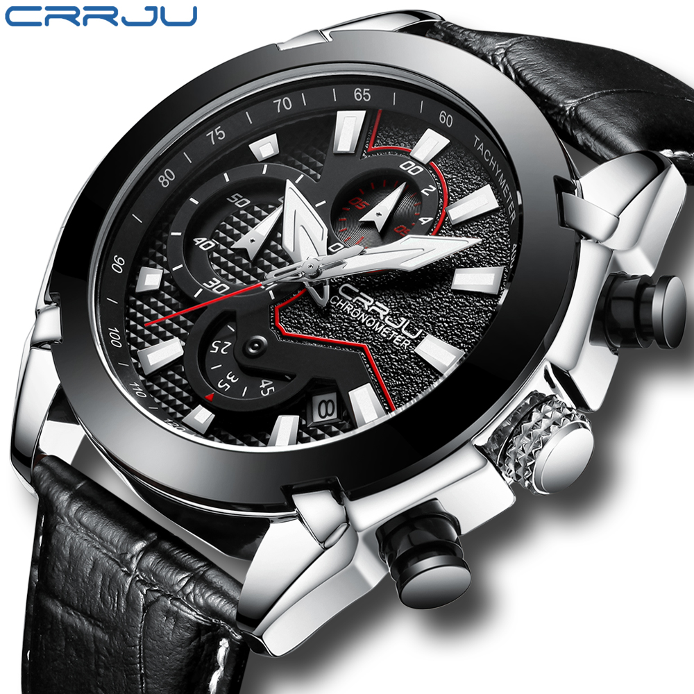 Men Watches Casual Genuine Leather Watch CRRJU Chronograph Quartz Wristwatch For Men Waterproof Male Clock Date erkek kol saati genuine jedir quartz male watches genuine leather watches racing men students game run chronograph watch male glow hands