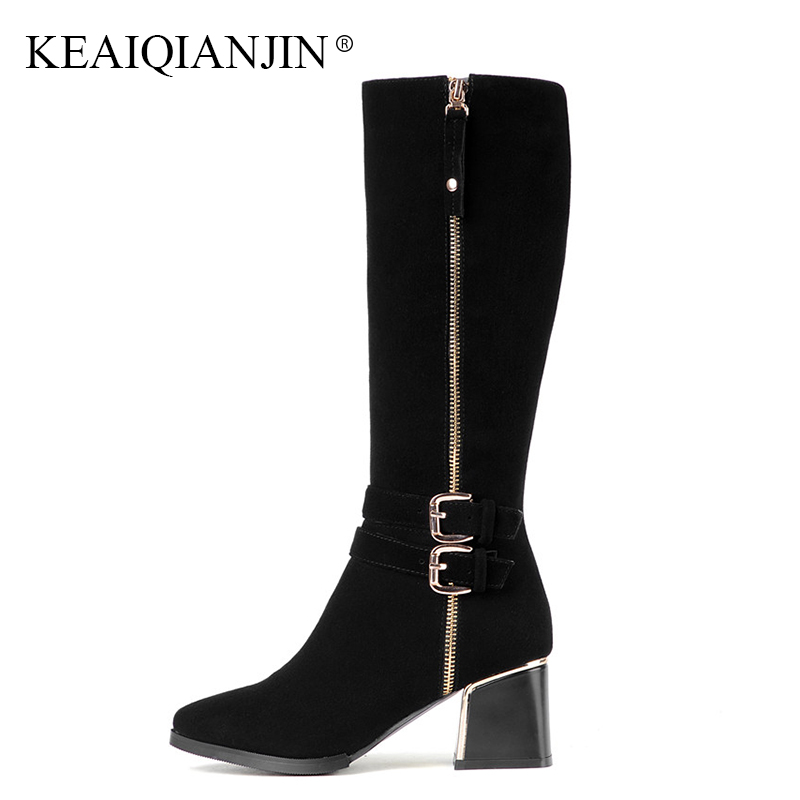 KEAIQIANJIN Woman Genuine Leather Knee High Boots Plus Size 33 - 43 Black Autumn Winter Shoes Pointed Toe Knee High Boots 2018 цена