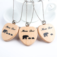 1 Piece Cartoon Lovely Statement Long Necklaces & Pendants Mama Bear Wooden Necklace Fashion Jewelry Mother Gift