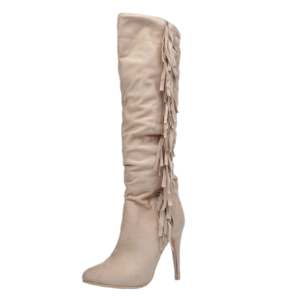 Khaki Tassel Long Knee High Boots For Women High Heels Size 11 Shoes Women Heeled Boots 2017 New Ladies Spring Shoes FemaleKhaki Tassel Long Knee High Boots For Women High Heels Size 11 Shoes Women Heeled Boots 2017 New Ladies Spring Shoes Female