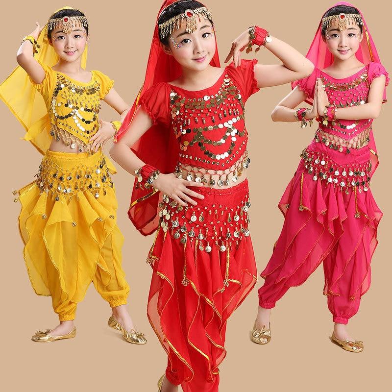 Sari indien 3 couleurs Fille ventre de danse Orientale Enfant Indien Costumes Pour Enfants Oriental Costumes De Danse Bollywood Danse Vêtements