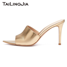 Gold Patent Leather Slip On Woman Mules Peep Toe 9 CM Heel Height Luxury Summer Sandals 2019 Plus Size Shoe Free Shipping