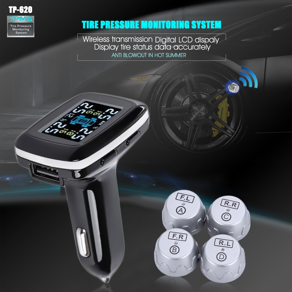 TP620 Digital Tire Pressure Monitoring System 12V Real Time Professional Wireless Smart TPMS Tire Pressure Alarm Car Charger