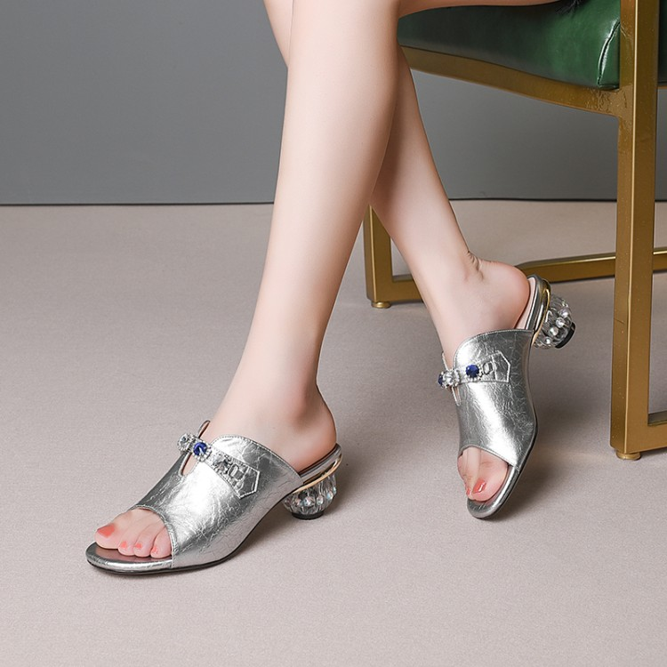 MLJUESE 2019 women slippers Cow leather summer open toe rhinestone crystal heel beaches sandals party wedding