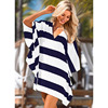 Ruiyige Plus Size Women Summer Shirts Batwing Sleeve Tops Striped V Neck Backless Bow Belted Blouse