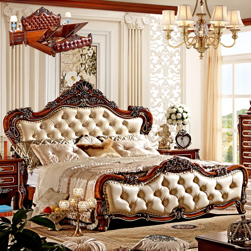 European Style Double Bedroom Set Wit Beside Table,dressing Table Set &4 Doors Wardrobe From Foshan Furniture