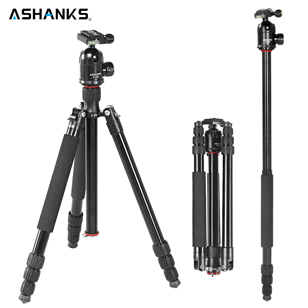 ASHANKS A84  Professional Portable Aluminum Alloy Black Tripod Monopod For DSLR Camera / camera stand with ball head + Procket cd america various artists america a land of refuge 2cd