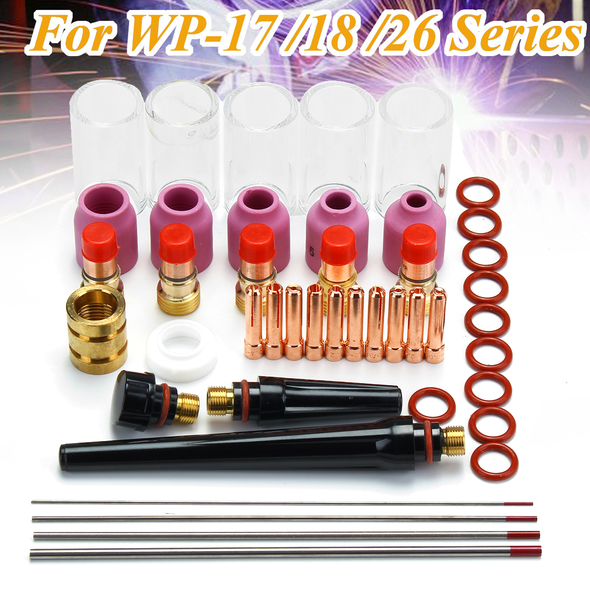 44Pcs TIG Welding Torch Stubby Gas Lens Glass Pyrex Cup Collect Body Kit for WP-17/18/26 Series Welder Tool Accessory