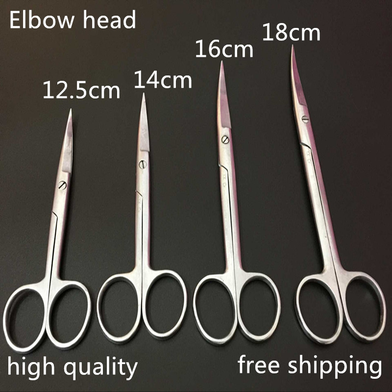 high quality elbow head medical stainless steel surgical scissor/surgical tool kit 12.5cm/14cm/16cm/18cm nail clipper cuticle nipper cutter stainless steel pedicure manicure scissor nail tool for trim dead skin cuticle