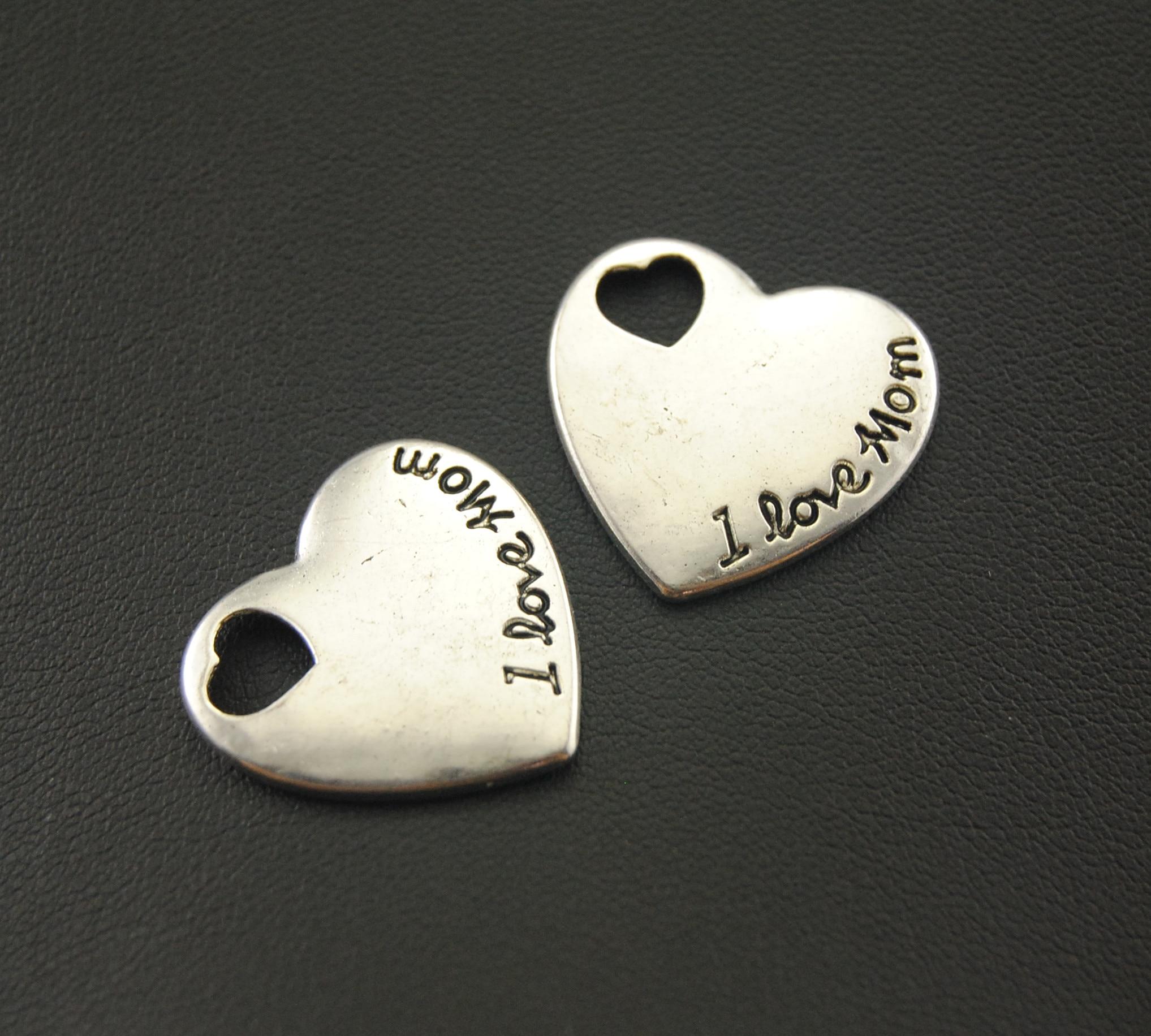 5 Pcs Antique Perak Jantung Berukir I Cinta Mom Pesona Diseduh Sendiri Membuat Perhiasan Kerajinan Tangan A1074