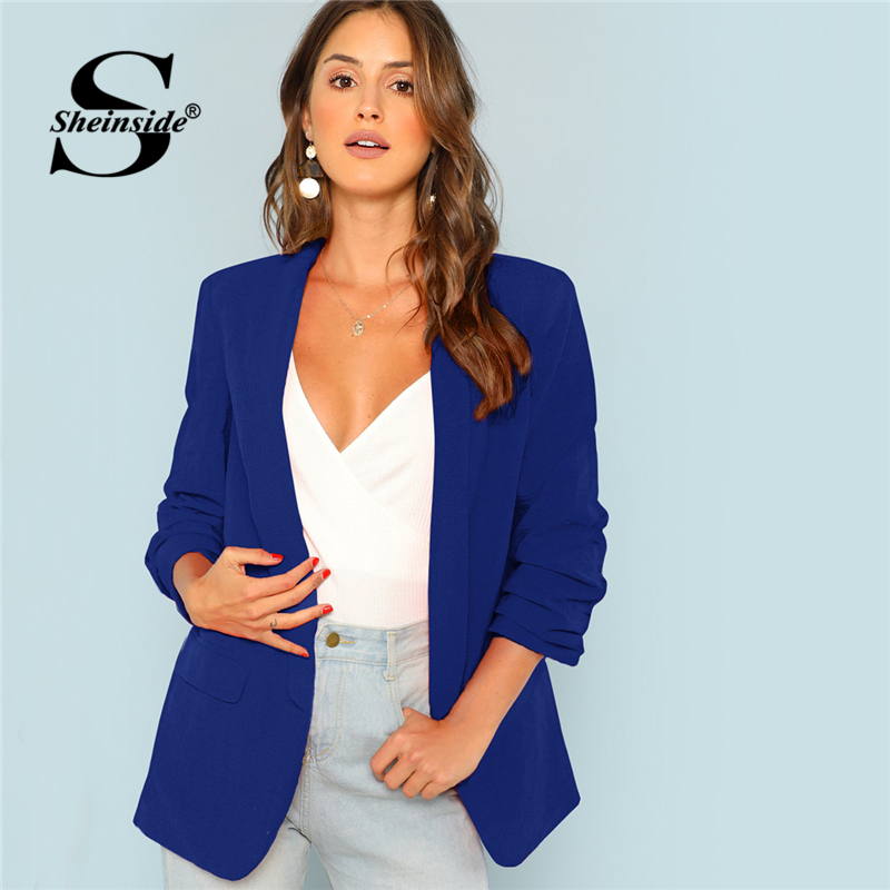 Sheinside Blue Workwear Shawl Collar Longline Blazer Long Sleeve Office Lady Tops 2018 Autumn Women Casual Blazers And Overcoats