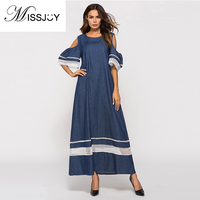 MISSJOY 2018 Summer Muslim robe hollow stitching strapless women half sleeve off the shoulder dress female loose maxi dresses