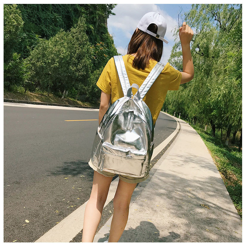Kpop Shiny backpacks women big capacity Casual Girls School Bag Laptop Backpack sac PU leather Travel Rucksack female bags Silver Gold (19)