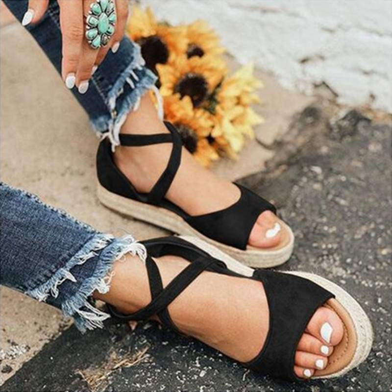 LAAMEI 2019 New Women Sandals Fashion Peep Toe  Design Roman Sandals Women Flat Shoes Summer Beach Ladies Shoes Sandals