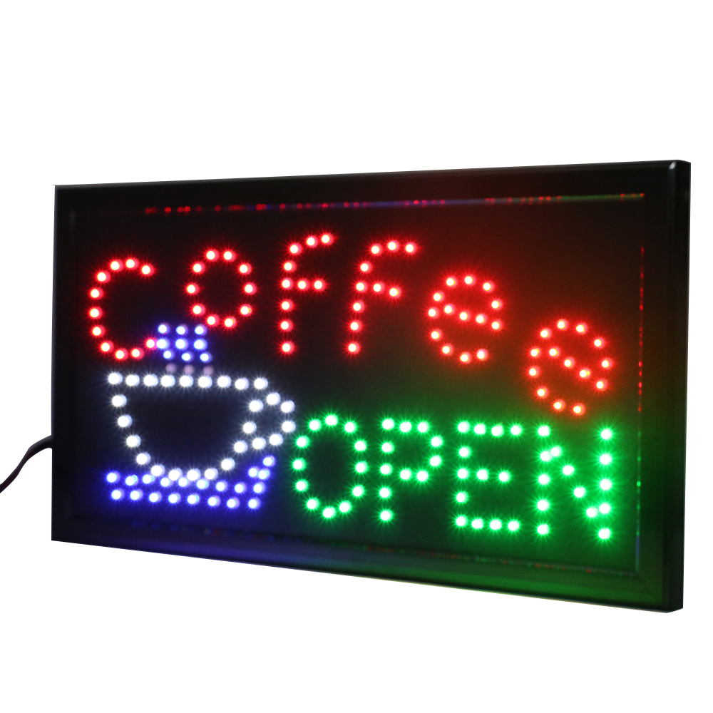 CHENXI Led Open Coffee Led Neon Business Motion Light Sign On/Off With Chain 19*10 Inch Indoor Advertising Window Display