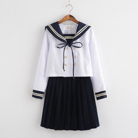 FREE SHIPPING Japanese/Korean Student Suit Cute Girls/Women Cosplay Sailor Suit School Uniforms Clothing Navy Top+Skirts