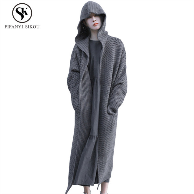 d4847526586 2018 Autumn Winter New Thicken Hooded Long Knitwear Cardigan coat Female  Solid color Casual Loose Plus