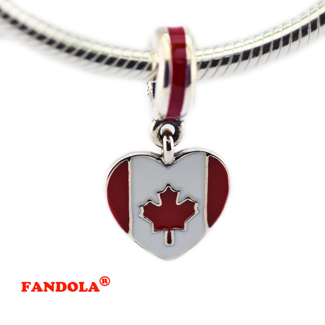 925 Sterling Silver Canada Heart Flag Silver Dangle with White and Red Enamel DIY Beads Fits Pandora Charms Bracelet FL405
