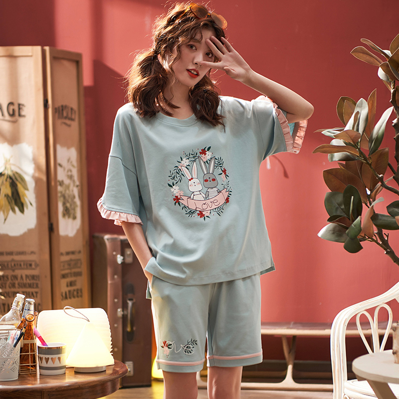 Women Lovely Wear Leisure Clothes 2019 Summer Autumn Short Sleeved Cotton Women   Pajamas     Sets   Short Pant Girls Party Pyjamas   Sets