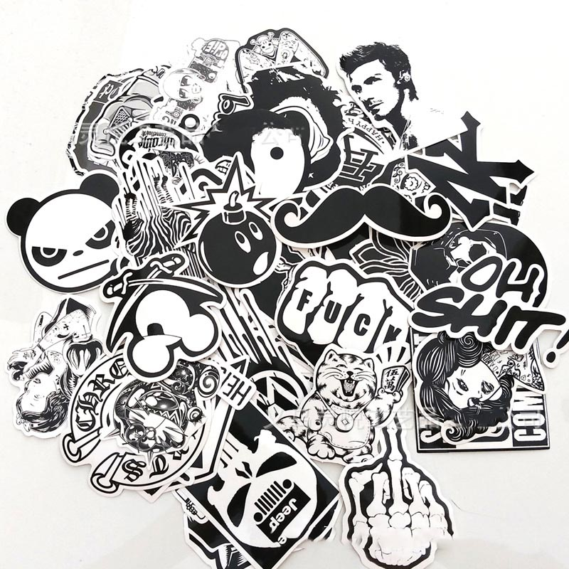 60 black and white can not repeat stickers waterproof