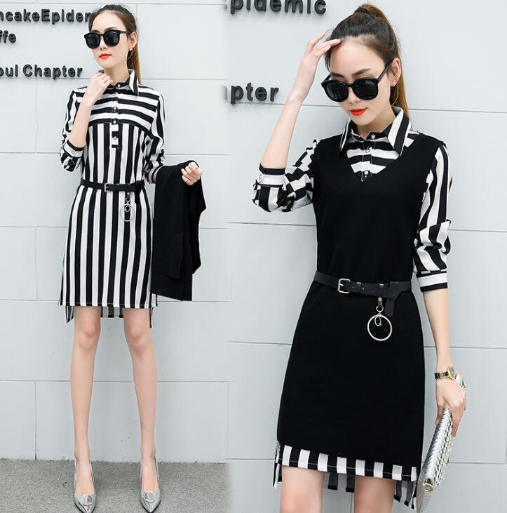 Women's 2019 spring and summer stripes waist was thin split lapel suit knitted vest dress female two-piece
