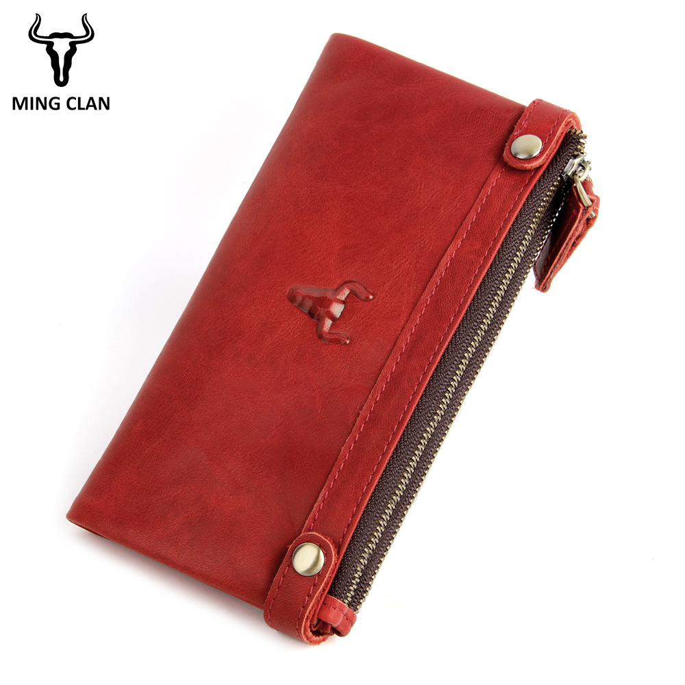 Wallet Women Genuine Leather Long Purses Zipper Luxury Wallet Photo ID Card Holder Credit Card Organizer Clutches for Women 2018