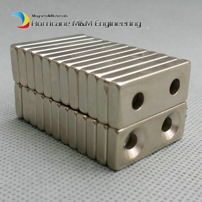 NdFeB Fix Magnet 28x12x4 mm with 2 M5 Screw Countersunk Hole Block N42 Neodymium Rare Earth Permanent Magnet 24-120pcs nt125whm n42 fit b125xtn01 0 12 5led lcd screen edp 30pins 2 special screw hole