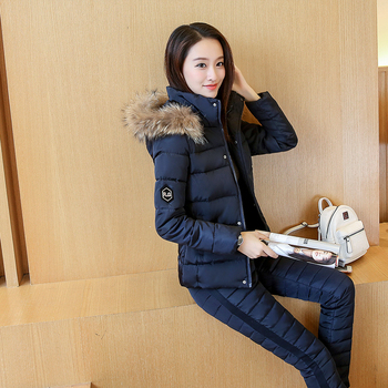 New winter coat ladies fashion casual solid Fur Collar hooded warm down padded suit (jacket + pants suits) winter suit coat