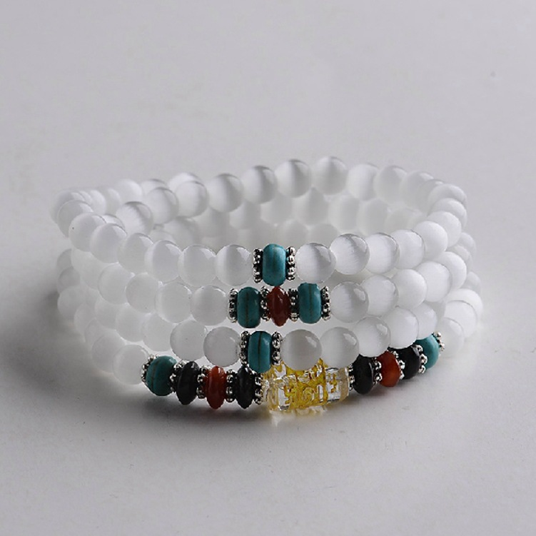 White Cat Eye Beads Six Words 108 Beads 6mm Men and Women Fashion Stone Bracelets High Quality Strand Beaded Bracelet