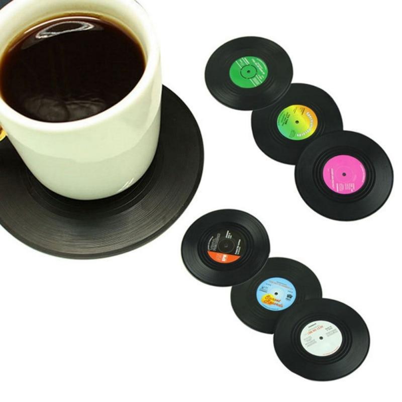 Vintage Black Plastic Cd Vinyl Record Drinking Coasters Table