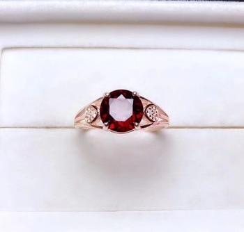 Garnet ring Natural and real garnet ring 925 stelring silver 8mm gem For Men Or Women