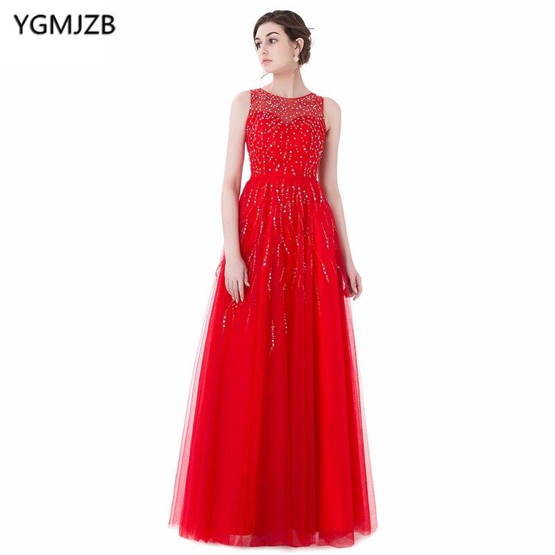 Длинные красные Вечерние платья 2018 Линия Scoop Кепки рукавами платье для выпускного вечера Sheer Вернуться блестками бисером вечернее платье Пр