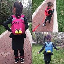 Droppshipi Fashion Children Backpack Anti-lost Canvas Bag Cartoon Animal Bear Pattern Kindergarten Kids Baby School Bags dg88