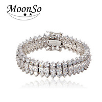 Moonso Luxury Crystal Bracelets Two Gifts Real Sterling Silver CZ AAA Zircon bracelets bangles for women jewelry 2017 new S811