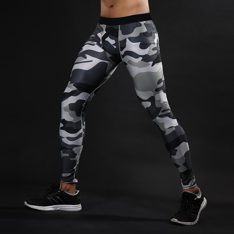 2018 Mens Fashion Long Compression Pants Crossfit Fitness Leggings Compression Tights Army Camfoulage Quickly Dry Pants Male