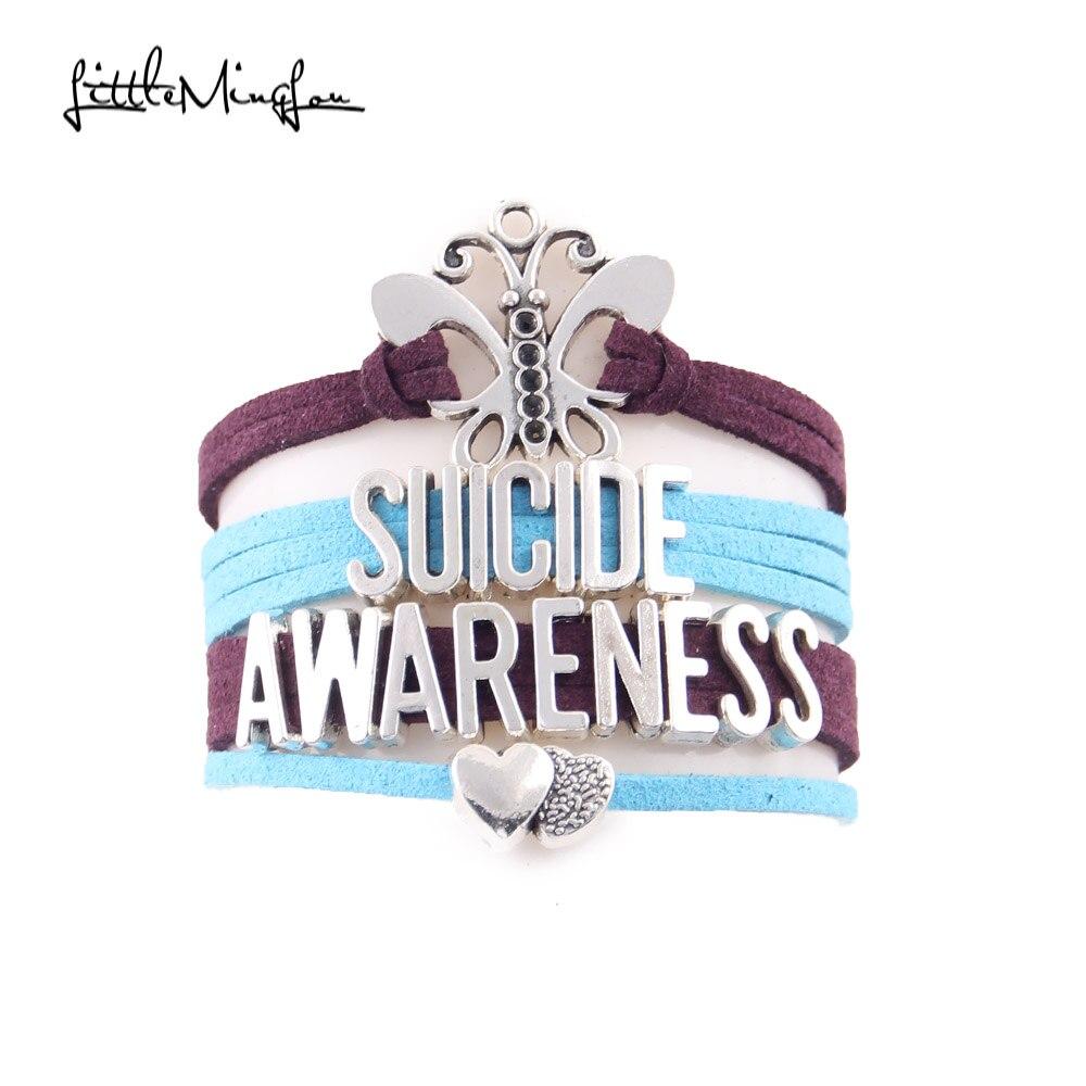 Wenig Minglou Selbstmord Awareness Armband Schmetterling herz charme wildleder wrap männer armbänder & armreifen für frauen schmuck