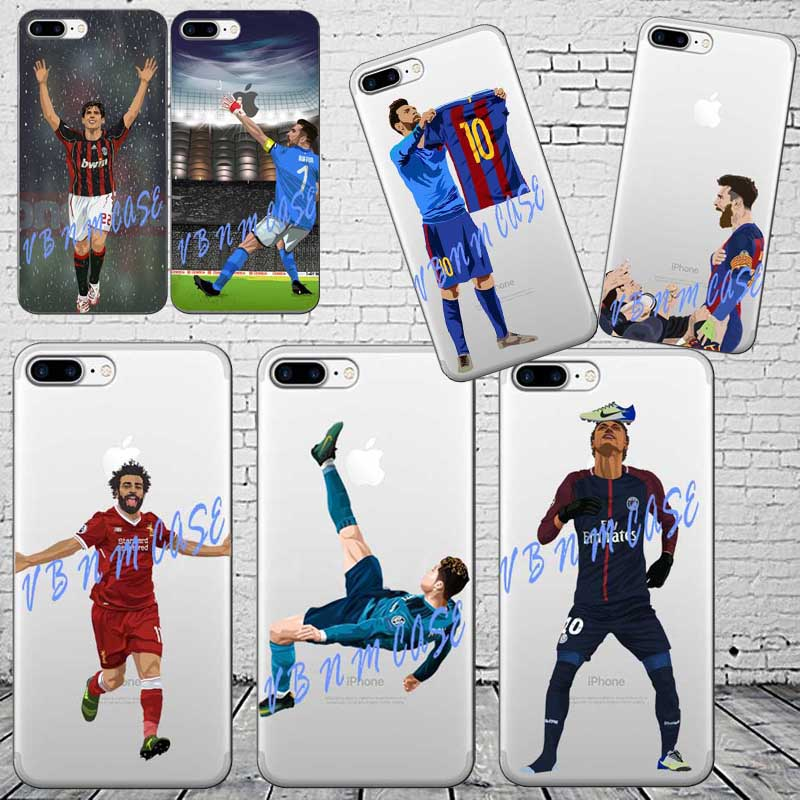 Barcelona Messi Soccer player Neymar ronaldo Mo Salah Phone Cases For Apple iPhone 6 6S 7 7Plus X Soft silicone TPU Cover