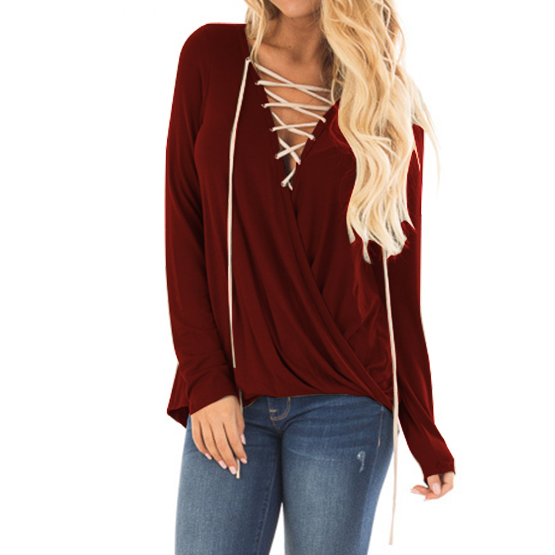 Blusas Top 2018 ZANZEA Women Spring Sexy Low Cup Lace Up Long Sleeve Crossed Blouse Casual Elegant Solid Work Office Shirt Tops