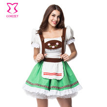 Corzzet Halloween Maid Service Uniform Temptation Beer Girl Oktoberfest Costume German Wench Fancy Party Club Bar Dress Cosplay