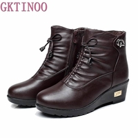 New 2016 Women Boots Women Leather Winter Boots Warm Plush Autumn Boots Winter Wedge Shoes Woman