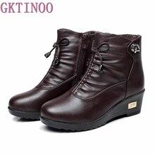 Nouveau 2017 femmes bottes femmes bottes d'hiver en cuir chaud en peluche automne bottes d'hiver wedge chaussures femme cheville bottes